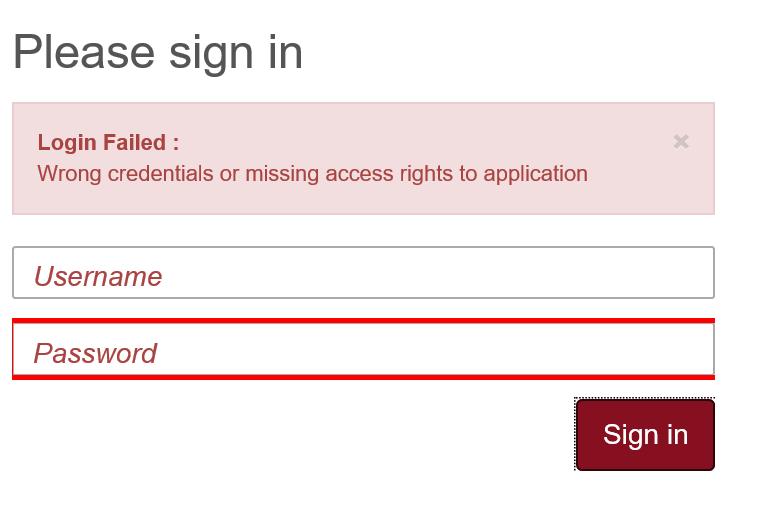 login failed